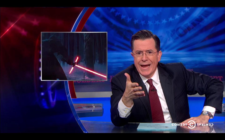 Stephen Colbert Weighs in on Lightsaber Debate