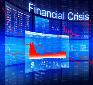 Financial crisis illustration showing a downward trend in investments.