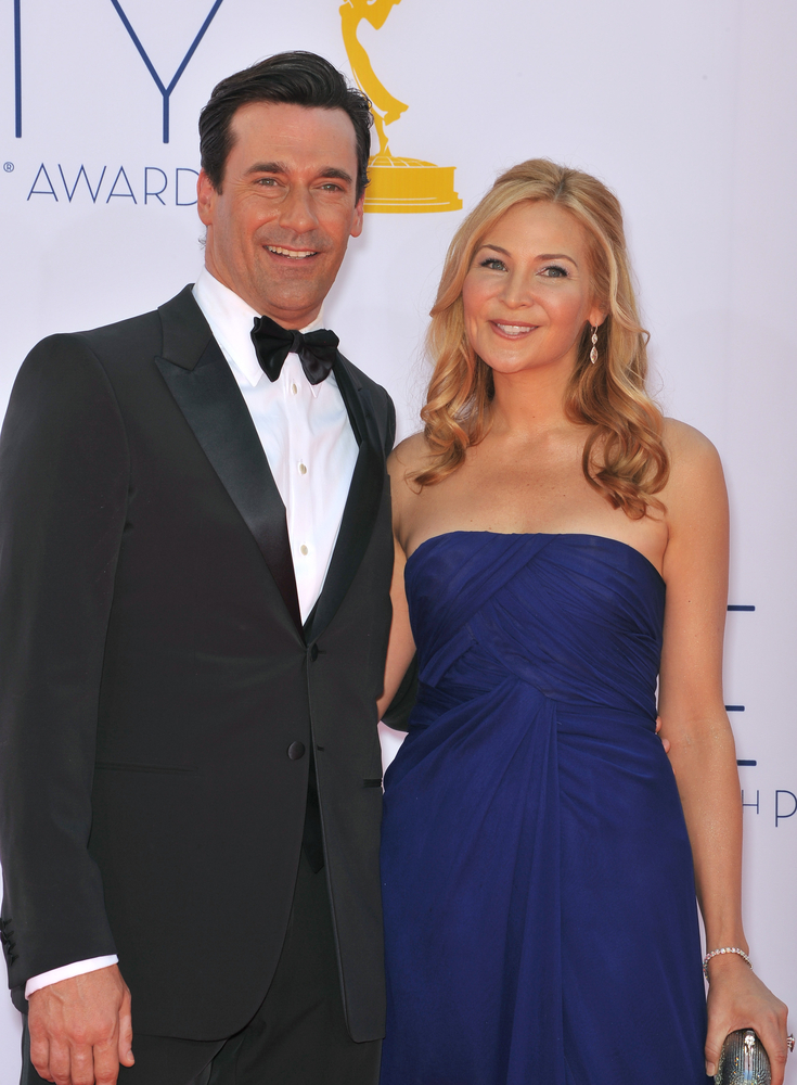 Jon Hamm and Jennifer Westfeldt at the 64th Primetime Emmy Awards at the Nokia Theater, on September 23, 2012 in Los Angeles.