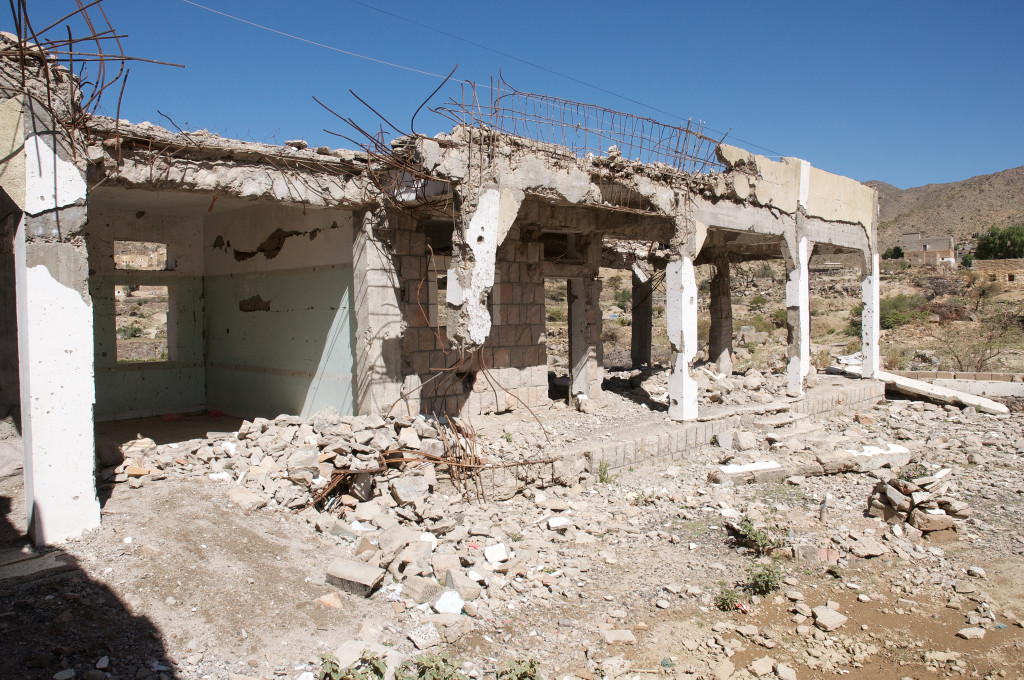 Bombed out ruins in Yemen serve as a schoolhouse for local children.