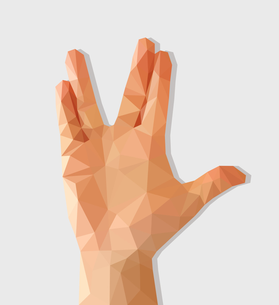 A pixelated hand opens in the Vulcan sign.