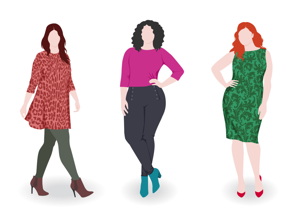An artistic rendering of three differently-sized women.
