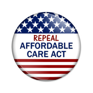 "A button that reads, ""Repeal Affordable Care Act."""