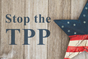 "An image that reads, ""stop the TPP."""