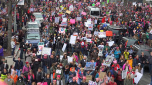 A photo of a massive crowd gathered at the Women's March.