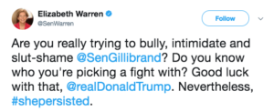 A screen shot of a tweet written by Elizabeth Warren.