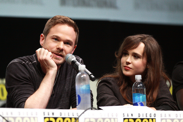 Shawn Ashmore and Ellen Page speaking at the 2013 San Diego Comic Con International for X-Men: Days of Future Past at the San Diego Convention Center in San Diego, California.