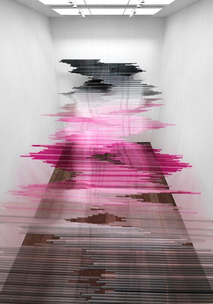 "Teresita Fernández's ""Untitled(Night Writing)"" (2011) on view at Lehmann Maupin, Chrystie Street."