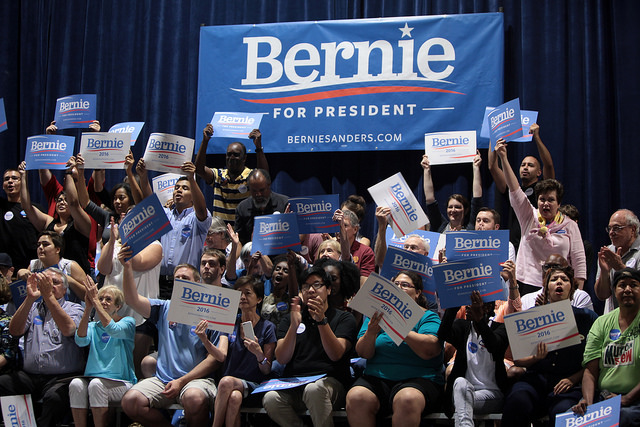 Supporters of U.S. Senator of Vermont Bernie Sanders at a town meeting at the Phoenix Convention Center in Phoenix, Arizona.