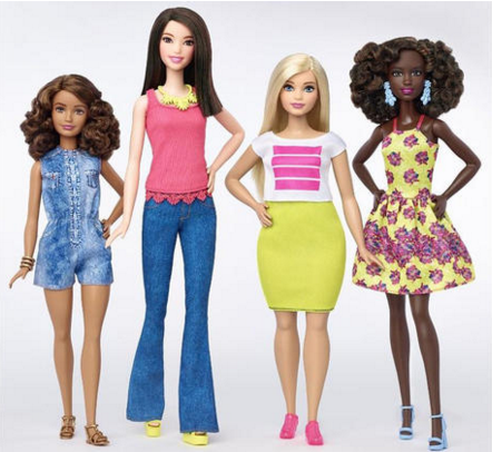 Four of Mattel's new Barbie styles.